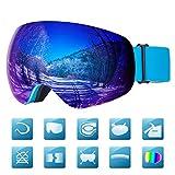Laxstory Skibrille Für Damen und Herren Ski Snowboard Brille brillenträger Skibrille OTG UV400 Anti-Fog UV-Schutz Skibrillen Verbesserte Belüftung für Skifahren (Blau VLT 17%)