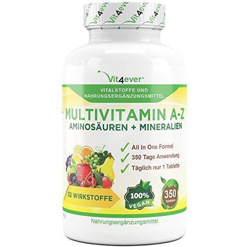 Multivitamin A-Z - 350 Tabletten - 32 Vitamine, Mineralien, Aminosäuren, Spurenelementen +Antioxidantien, - 350 Tage Versorgung - Täglich nur 1 Tablette - Mulitvitamine - Vitamin C, Eisen, Vitamin E, Zink, Vitamin B3, Niacin, Magnesium, Vitamin B5, Vitamin D3, OPC, Traubenkernextrakt, Kurkuma, Glutamin, Vitamin B6, Alpha-Liponsäure, Vitamin B1, Vitamin B2, Vitamin B3, Vitamin D3, Vitamin A, Folsäure, Kupfer, Vitamin B12, Selen, Biotin … Vit4ever