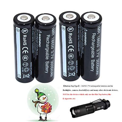 4-Piece18650 3.7V Wiederaufladbare Akku Li-ion Batterie + LED-Taschenlampe Kit