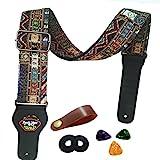 Gitarrengurt Vintager gesponnener Art-justierbarer akustischer elektrischer Gitarren-Baß-Bügel mit Lederenden, Plektren, Strap Bundle, Knopf (red)