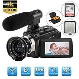 Camcorder,4K Videokamera AMZLIFE 48MP Ultra HD WiFi 3''LCD-Touchscreen LED Videoleuchte-IR Nachtsicht Digitalkamera,16X Digital Zoom Video Camcorder mit Mikrofon Weitwinkelobjektiv und 32G SD-Karte.