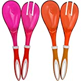 COM-FOUR 4-teiliges Set Salatbesteck in orange und pink zum Servieren Ihrer köstlichen Salate (04-teilig - orange/pink)