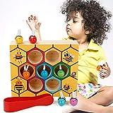 MojiDecor Bienen Holzspielzeug, Holz Bienen Spielzeug Klippkasten Montessori Geburtstag Pädagogisches Lernspielzeug für Kinder Baby