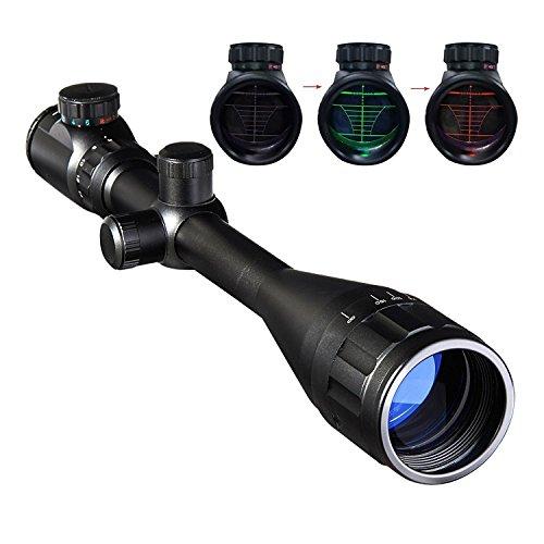 Pinty 6-24x50mm Rot Grün Zielfernrohre Green & Red Luftgewehr Scope Mil Dot Rangefinder Sight Visor Taktische Scope mit Einstellbare Objektive Linse und Halterung für Jagd