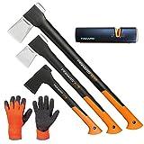 FISKARS Set Spaltaxt X25 - XL + X17 - M + Universalaxt X10 - S + Xsharp Axt- und Messerschärfer + Handschuhe