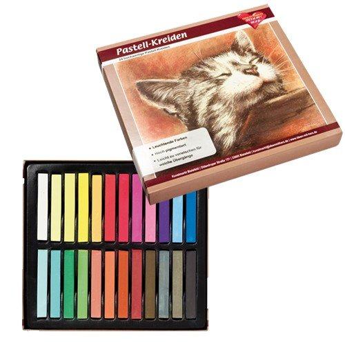 Pastell-Kreide, 24 hochwertige Kreiden in leuchtenden Farben, hoch pigmentiert | Studio, Kunst, Hobby, Malen, Basteln, DIY