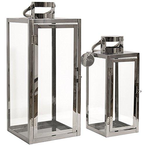 Dekovita Gartenlaterne 2er-Set: 30cm/41cm Edelstahl-Laternen mit rundem Henkel Windlicht hitzebeständiges Temperglas