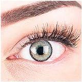 Sehr stark deckende und natürliche graue Kontaktlinsen SILIKON COMFORT NEUHEIT farbig 'Mirel Grey' + Behälter von GLAMLENS - 1 Paar (2 Stück) - DIA 14.00 - mit Stärke -1.75 Dioptrien