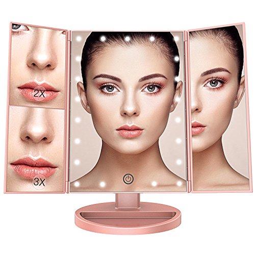 BESTOPE Tischspiegel Schminkspiegel Beleuchtet mit 21 Leuchtmittel Make Up Spiegel 2X/3X Vergrößerung kosmetikspiegel für Arbeits/Tischplatte Bewegliche Kabellose Stromversorgung durch Akku oder USB-Aufladung(Rosa Gold)