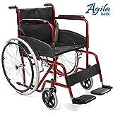 AIESI Klapprollstuhl leichter faltbarer selbstfahrender - Rollstuhl für ältere und behinderte menschen AGILA BASIC  Feste armlehnen und fußstützen  Sicherheitsgurt  24 Monate Garantie