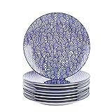 Vancasso, Takaki 8 TLG. Set Porzellan Speiseteller, Ø 27 cm Flachteller, Rund, Blau