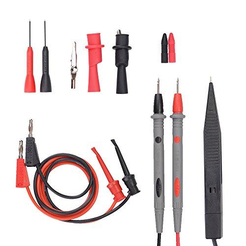 Messleitungen Multimeter Kabel Prüfkabel Set Multimeter zubehör mit Krokodilklemmen, Bananenstecker, Messleitungen für Multimeter, Test Haken, SMD Prüfklemmen, Prüfspitzen
