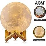 Mond Lampe, AGM LED 3D Druck Moonlamp 15 cm Dimmbar Mond Nachtlicht Berührungssteuerung Stimmungslicht mit Holzhalterung für Kinderzimmer Schlafzimmer Cafe Bar Esszimmer (5,9 Inch-new)
