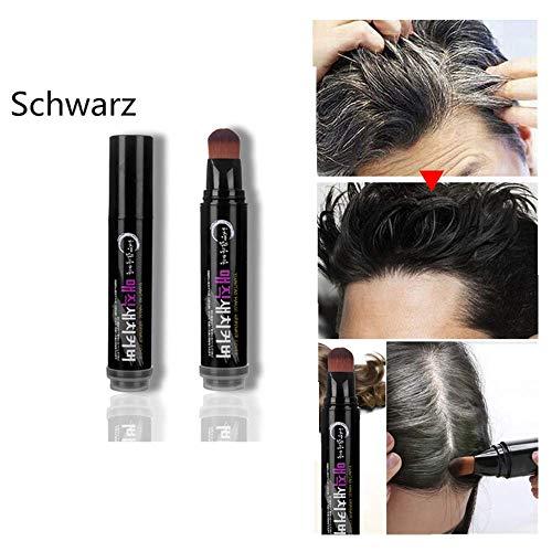 Yncc Natürliches Kraut Haar Mascara Haarfärbestift Schnelle Haarfärbepflanze Haarfärbebalken- Schwarz, Braun, Kaffee (Schwarz)
