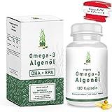 Omega-3 Algenöl Softgel Kapseln hochdosiert [ 1000mg ] - 120 vegane Kapseln | pflanzlich DHA und EPA essentielle Fettsäuren - Algen Mikroalgen-Öl hergestellt in ÖSTERREICH