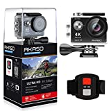AKASO Action Cam 4K WIFI Action Kamera 170°Ultra Weitwinkel Full HD Sport Cam mit 12MP Unterwasser Kamera 2 Zoll LCD Bildschirm 2.4G Fernbedienung mit 2 Batterien 19 Zubehör Kits (Schwarz)