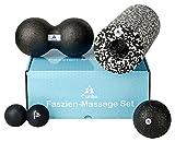Curiba 4 in 1 Faszien Set inkl. Anleitung - 3 Massagebälle (Einzelball 10 cm, Großer Duoball, Kleiner Duoball) & Faszienrolle