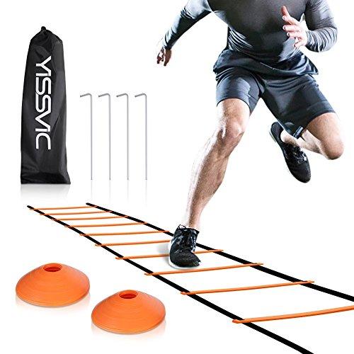 Yissvic Sport Trainingsleiter Dauerhafte Fußball Koordinationsleiter 6m 12 Rungs Inklusive Markierungshütchen, Erdnägel und Tasche Orange