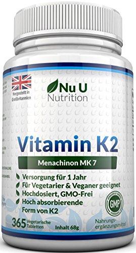 Vitamin K2 MK7 200 µg – 365 Vegetarische und Vegane Tabletten, Jahresversorgung von Vitamin K2 Menaquinon MK7 hochdosiert All Trans von Nu U Nutrition