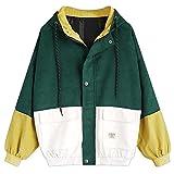 Coats Damen, KIMODO Neu Frauen Langarm Cord Patchwork Oversize Jacke Windbreaker Mantel (Blau, M)