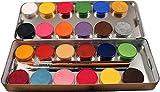 Eulenspiegel Schminkpalette mit 3 Profipinsel, 24 Farben
