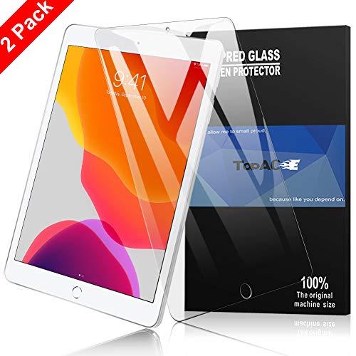 TOPACE (2X Panzerglas Schutzfolie für iPad 7. Gen 10.2'' 2019, Ultra-HD Vollschutz-mit Ultra-Stärke Glas Blasenfrei Anti-Kratzer Gehärtetes Glas Displayschutz für iPad 7. Generation 10,2 Zoll 2019