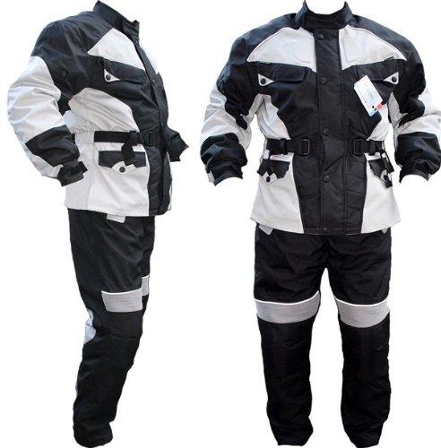 German Wear Motorradkombi Cordura Textilien Motorradjacke + Motorradhose, Schwarz/Hellgrau, 50