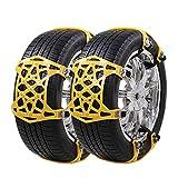 UniAuto Universal Schneeketten Einfach zu montieren Reifen Schneekette für Jede Reifenbreite 165-285mm,6-teiliges Set, [2018 Upgrade] (Gelb)
