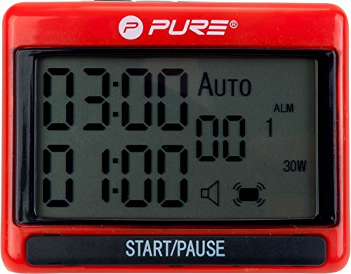 Pure 2Improve Unisex – Erwachsene Interval Training Timer, Schwarz/Rot, 1