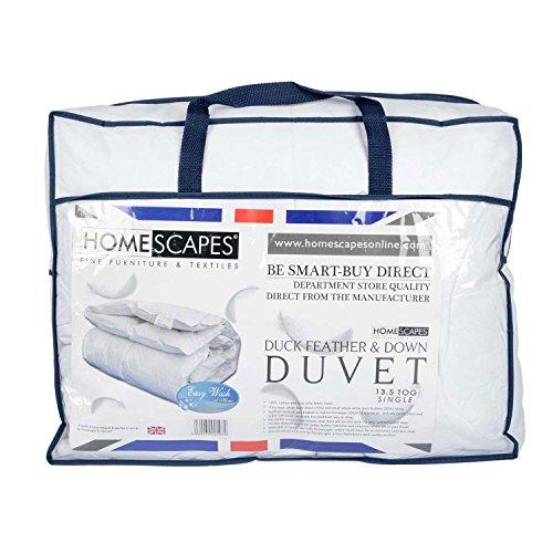 Homescapes warme Premium Winter Bettdecke 135 cm x 200 cm, Steppdecke Wärmeklasse 5, Entenfedern und Daunen