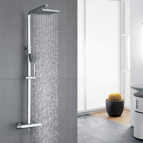 HOMELODY Duschsystem mit Thermostat Duscharmatur eckig Regendusche Duschset Dusche inkl. Handbrause, Regenbrause, chrom