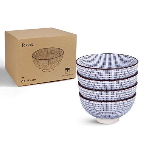 4 x Urban Lifestyle Teeschale mit japanischem Tokusa Muster