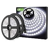 LE LED Streifen 12V 5m Selbstklebend, Leiste mit 300 Stück 3528 LEDs, 6000 Kelvin 2400 Lumen Kaltweiß DIY Flexibel LED Band für Innen Heim Küche Feiertag Dekoration, usw. 2er Pack