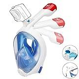 VILISUN Vollmaske Schnorchelmaske Tauchmaske Vollgesichtsmaske mit 180° Sichtfeld, Dichtung aus Silikon Anti-Fog und Anti-Leck Technologie für Alle Erwachsene und Kinder (L-XL, Blau1 - Erwachsene)