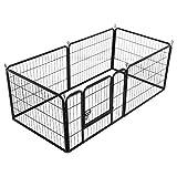Yaheetech 8-tlg Welpenlaufstall Freilaufgehege Welpenauslauf Hundelaufstall Tierlaufstall für Kleintiere, mit Tür, je Panel ca. 80 x 80 cm