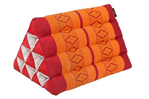 Kleines Thaikissen Dreieck 33 x 20 cm Kissen mit Füllug aus Kapok Dreieckskissen aus Thailand, Dekokissen oder Stütze, orange & rot