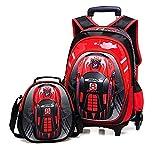 Eeayyygch 2Pcs 3D Spielzeugauto Nylon Kinder Trolley Schultasche Trolley Set, Jungen Mädchen 6 Räder Wasserdichter Rucksack mit Lunch Bag (Farbe : Rot, Größe : -)
