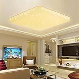 VINGO 60W LED Deckenleuchte Eckig Sternenhimmel Effekt Schlafzimmerleuchte Warmweiß Kinderzimmer Badleuchte Schlafzimmer Decken Starlight Lampe Mordern Flurlampe Leuchte Angenehmes Licht 2700K-3000K, kunststoff, 60w Warmweiß Eckig