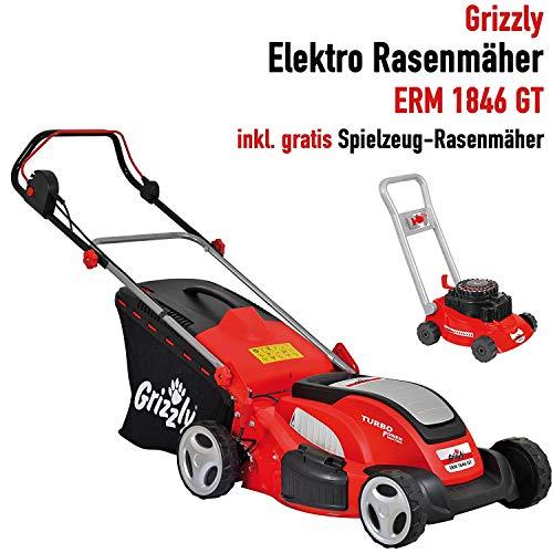 Grizzly Elektro Rasenmäher ERM 1846 GT mit Stahlgehäuse 1800 W Turbo Power Motor 46 cm Schnittbreite Mulchfunktion Inkl. Kinder Rasenmäher