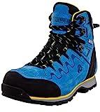 GUGGEN Mountain PM025 Damen Trekking-& Wanderstiefel Wanderschuhe Trekkingschuhe Outdoorschuhe wasserdicht mit Membran und Leder Farbe Blau-Gelb EU 40
