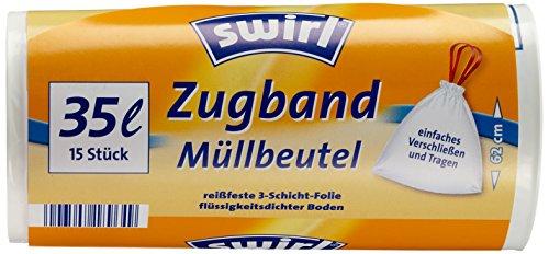 Swirl Zugband-Müllbeutel, 35 Liter, 9 Rollen mit je 15 Beuteln, Weiß