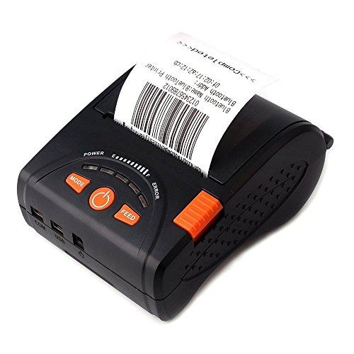 [Upgrade 2.0] Thermodrucker Wireless Drucker zu erhalten Thermo Bluetooth munbyn 58mm Papier für Android iPhone iPad mit Gürtel Leder und Akku wiederaufladbar ESC/POS