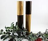 Set aus 2 Gewürzmühlen groß aus Räuchereiche/Olivenholz