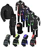 Wasserdichtes Motorrad Klage Gewebe (Jacke + Hose + Handschuhe + Balaclava) Motorradbekleidung für alle Wetter - Cordura Fabric - CE Armour - 6 Packs Entwurf - Grün/Green - 2X-Large