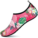 SAGUARO Badeschuhe Wasserschuhe Neoprenschuhe Damen Herren Schwimmschuhe Frauen Strandschuhe Surfschuhe Aquaschuhe Barfuß Schuhe, Blume Pink 40/41