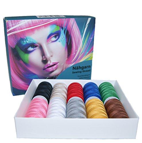 BELLADOM Nähgarn 10-teilig aus Polyester, verschiedene Farben, Qualitätsgarn, Nähmaschinengarn Set, Nähgarn Set, Nähset