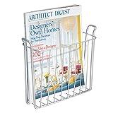 mDesign Zeitungshalter für die Wand – schöner Zeitschriftensammler aus rostfreiem Stahl für das Badezimmer – auch für Bücher, Tabletts und Co. geeignet – Farbe: Silber