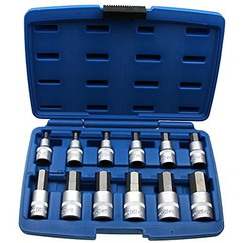 12 x Kraft Innensechskant Einsatz/Steck-Nuss Schlüssel für Innen-6-kant Schrauben Steckschlüsseleinsatz Schraubenschlüssel-Einsatz Größe 5-22 mm 1/2'-Antrieb Chrom-Vanadium-Stahl