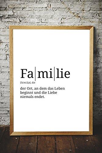 Definition: Familie | DIN A3 | Premium Spruch-Poster für Küche Wohnzimmer oder WG | Kunstdruck für den Bilderrahmen