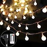 Lichterkette strombetrieben B-right 100 LED Globe Lichterkette, Lichterkette warmweiß, Innen und Außen Lichterkette glühbirne Fernbedienung, Lichterkette für Weihnachten Hochzeit Party Weihnachtsbaum
